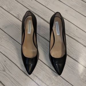 Saks Fifth Avenue Black Leather Pumps